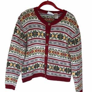 VNTG Liz Sport PS Cardigan Sweater Fair Isle Crop